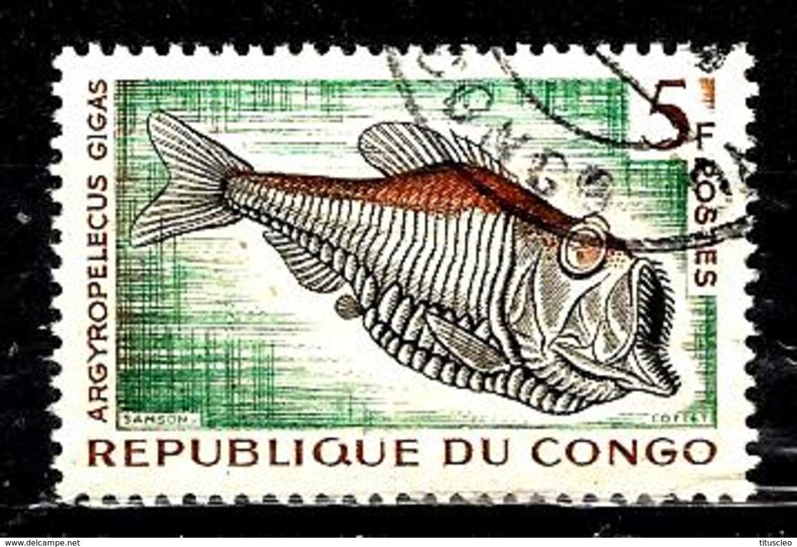 CONGO 146° 5f Brun-orange, Vert Et Sépia Poissons Et Céphalopodes Abyssaux Argyropelecus Gigas (10% De La Cote + 0,25) - Congo - Brazzaville