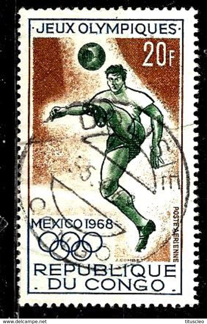 CONGO Aer75° 20f Brun, Vert Et Bleu Jeux Olympiques De Mexico Football (10% De La Cote + 0,25) - Congo - Brazzaville