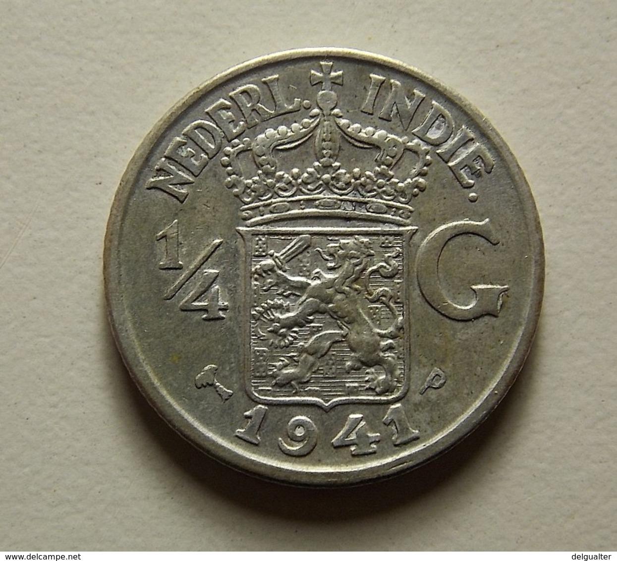 Netherlands East Indies 1/4 Gulden 1941 P Silver - Dutch East Indies