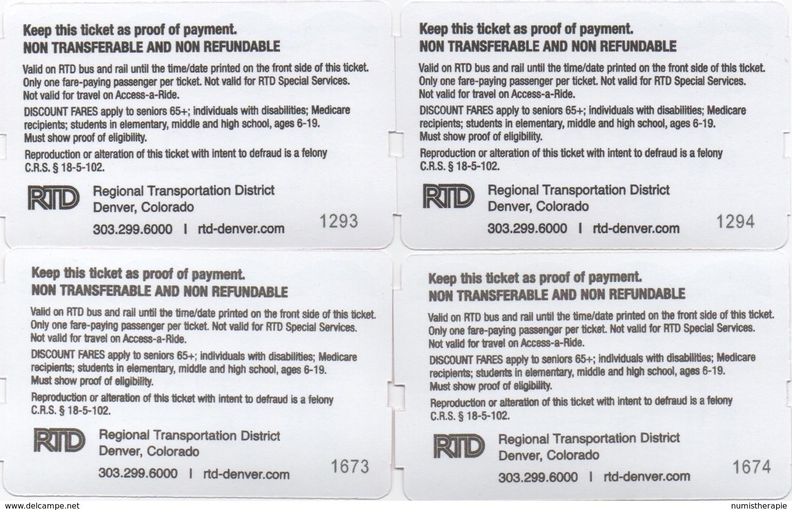 Denver USA : Train RTD Régional - Aéroport : Day Pass $9.00 (€0,75 Per Ticket) - Railway