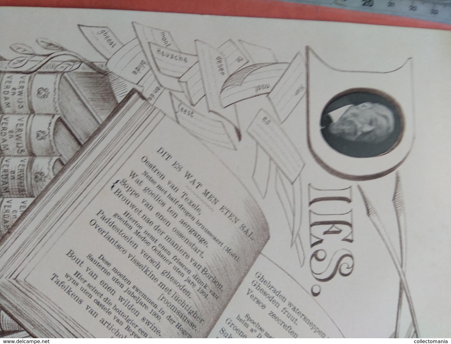 Menukaart Met Foto, 1909 Eerste Uitgave VERWIJS En VERDAM Woordenboek - Litho V Muder, LEIDEN 23cmX18cm - Dictionaries