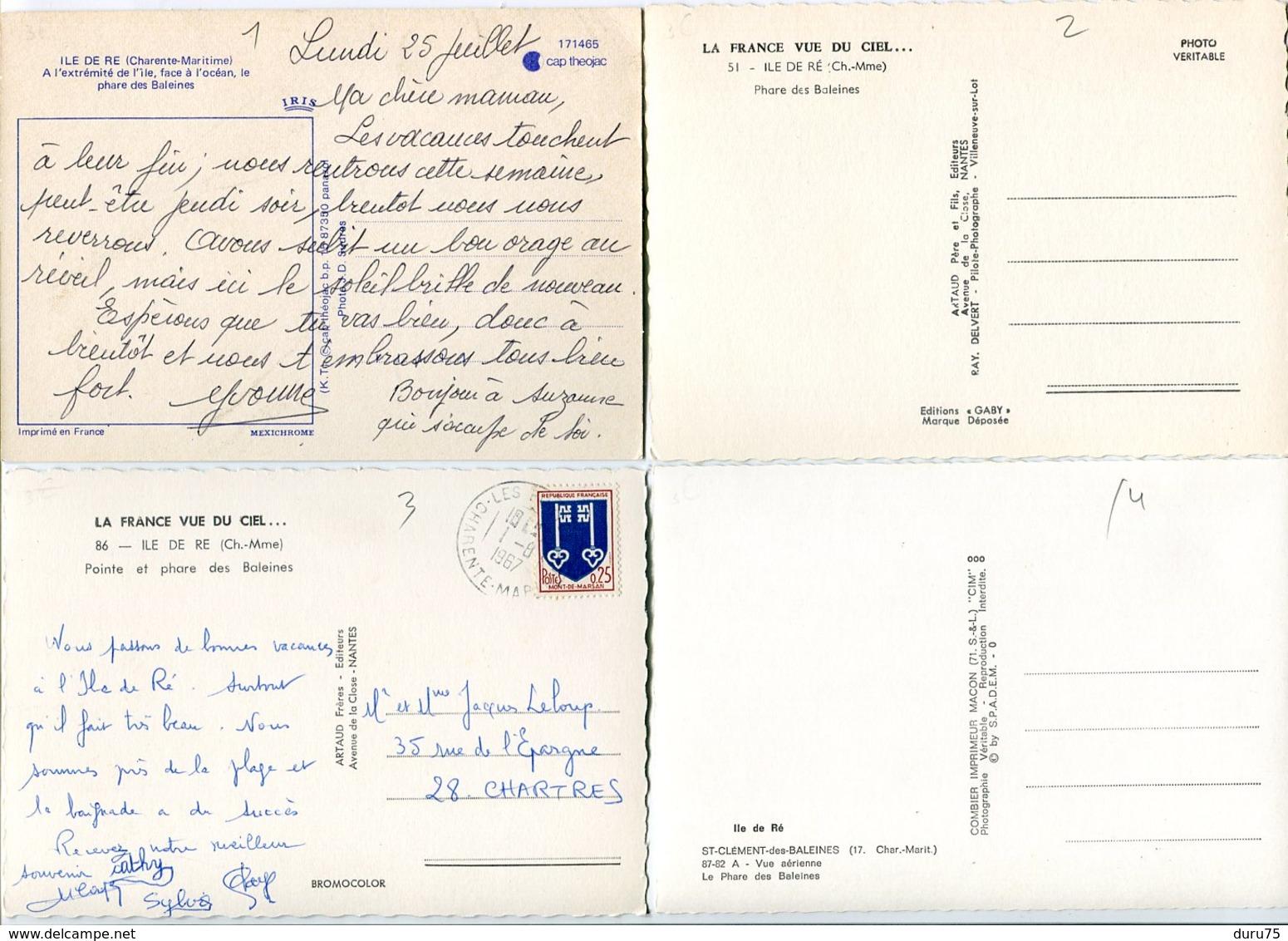 4 CPSM 10 X 15 * ILE RÉ Pointe Et Phare Des Baleines - Ile De Ré