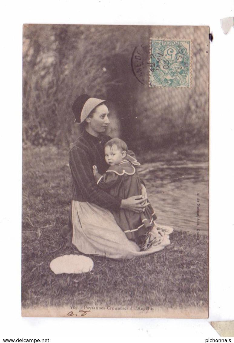 23 GUERET Paysanne Creusoise A L'angelus Enfant  Types Costumes Coiffe 1906 - Costumes