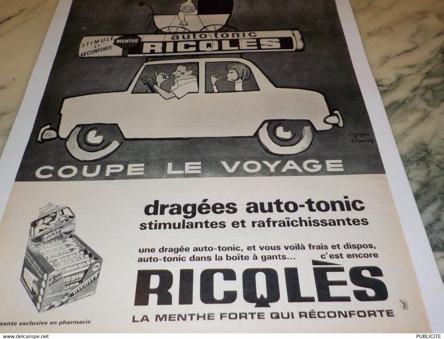 ANCIENNE PUBLICITE DRAGEES AUTO TONIC  DE RICQLES  1965 - Affiches