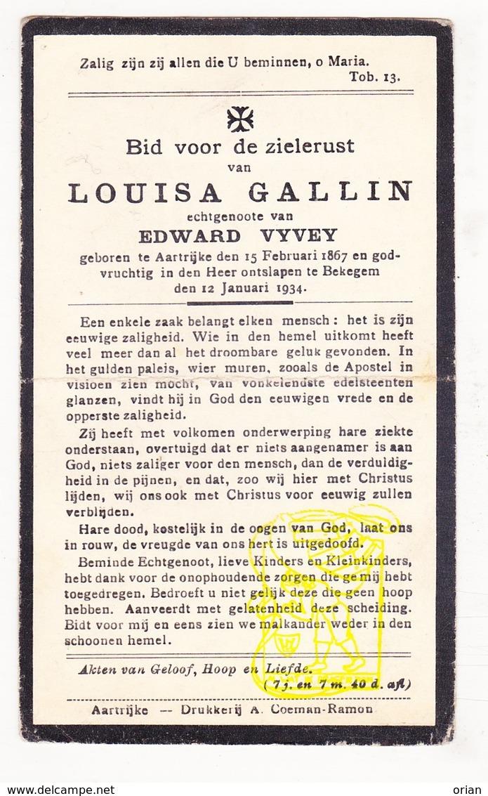 DP Louisa Gallin ° Aartrijke Zedelgem 1867 † Bekegem Ichtegem 1934 X Edw. Vyvey - Images Religieuses