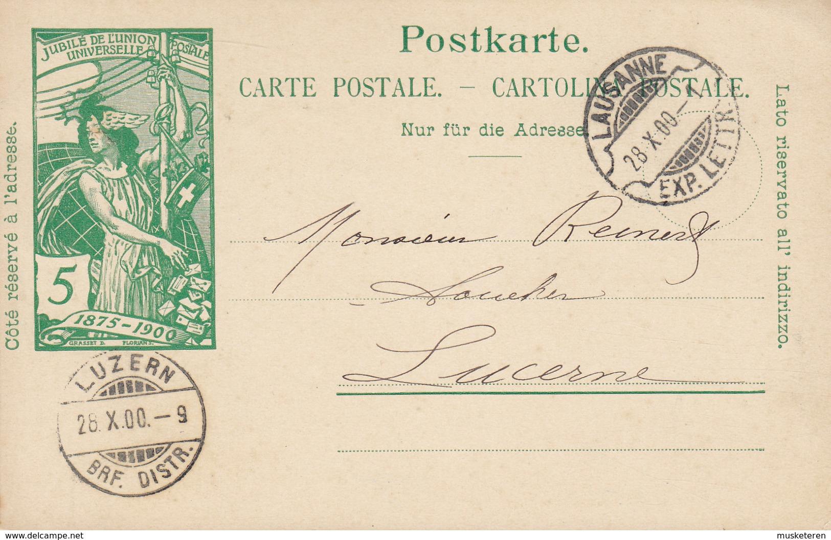 Switzerland UPU Weltpostverein Postal Stationery Ganzsache Entier LAUSANNE 1900 LUZERN (Arrival) (2 Scans) - Entiers Postaux