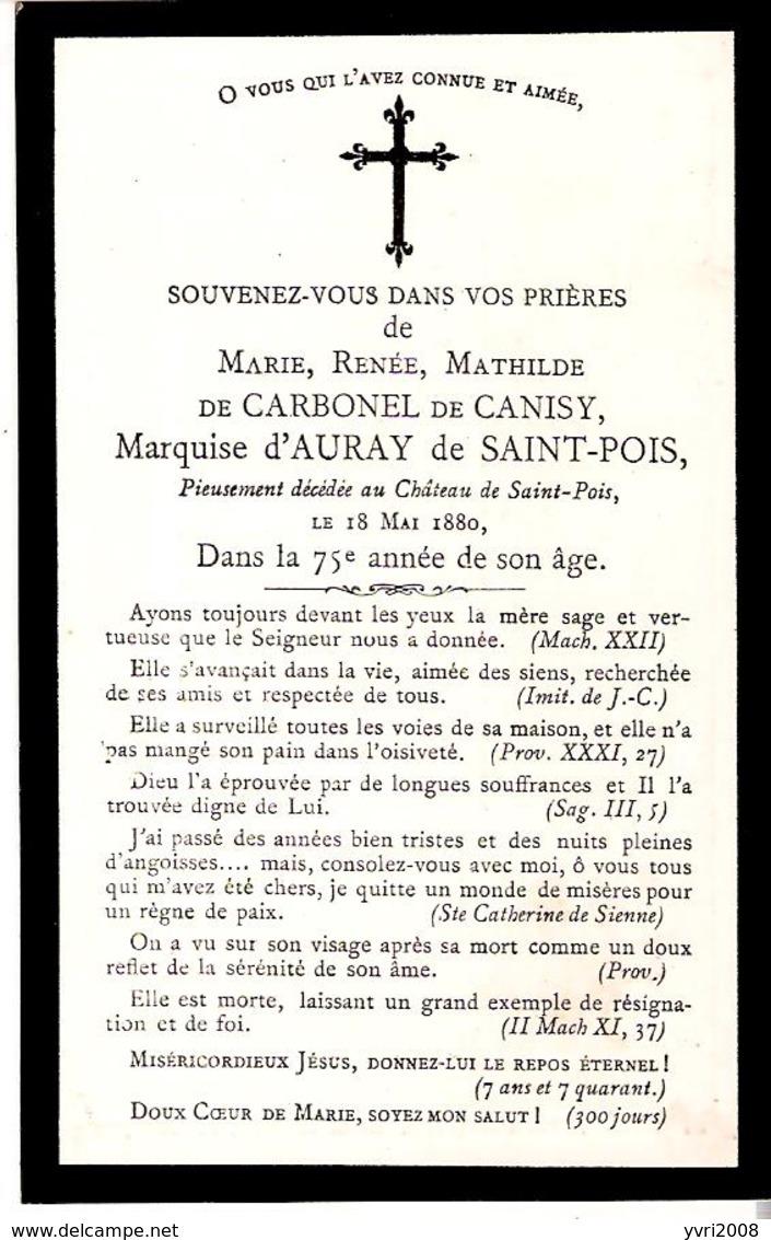 Faire-part Décès De Marie De CARBONEL De CANISY, MARQUISE D'AURAY De SAINT-POIS Le 18/5/1880 - Obituary Notices