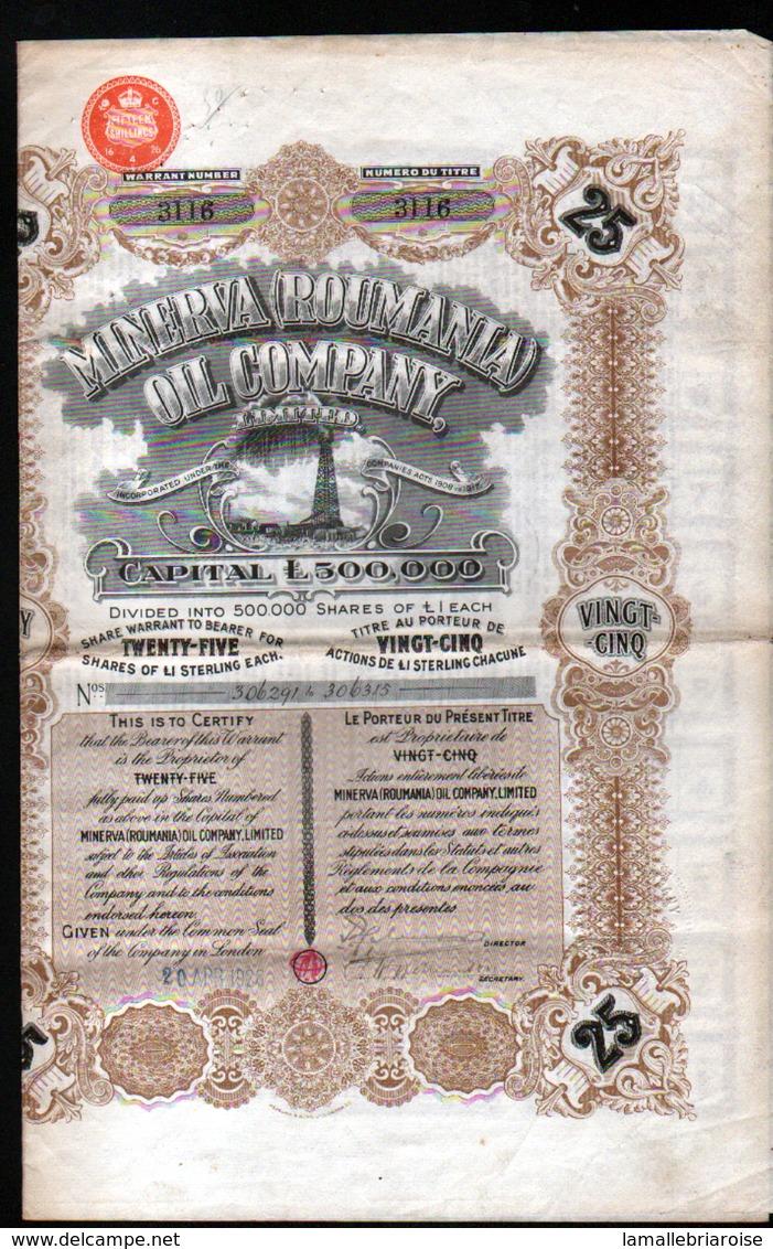 Minerva ( ROUMANIA) OIL Company - Chemin De Fer & Tramway