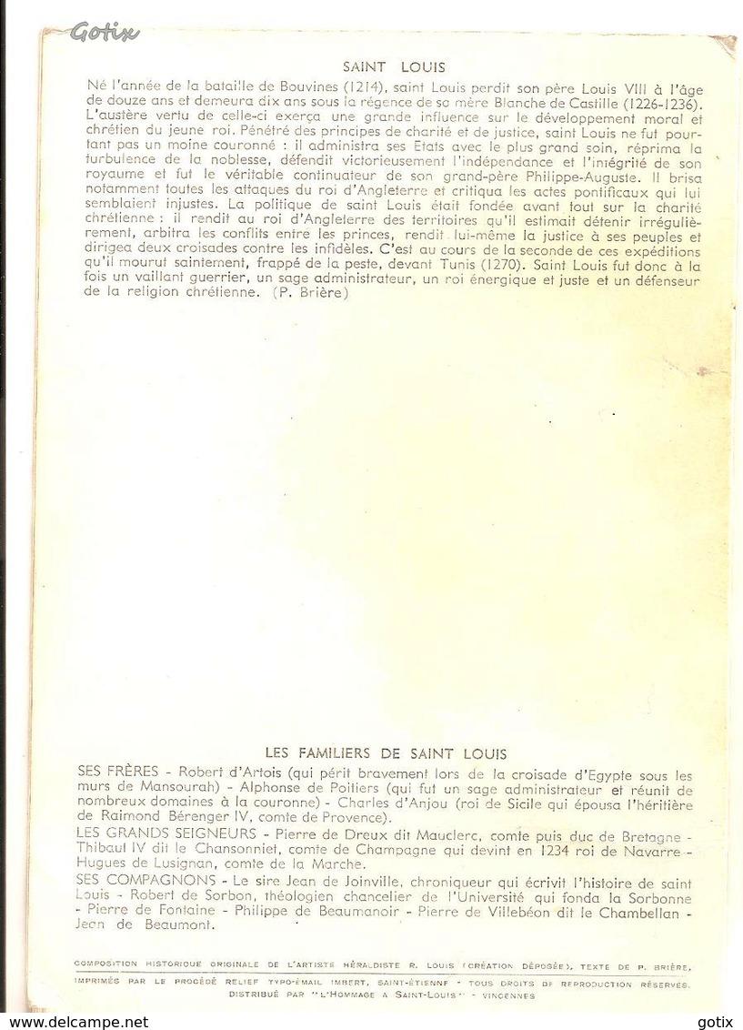 CP Héraldique - SAINT LOUIS Et Ses FAMILIERS - 1214-1270 - Robert Louis Héraldiste - Histoire