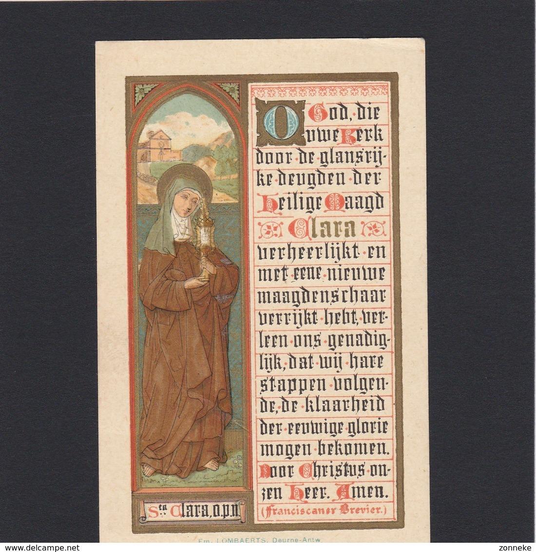 Neogotische Devotieprent Sainte Clara - Religion & Esotericism