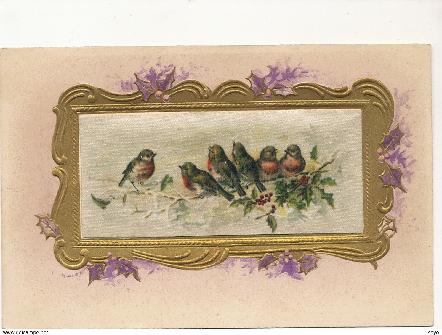 Embossed Painted Silk Card . Oiseaux Rouge Gorge. Carte Peinte En Soie - Cartes Postales