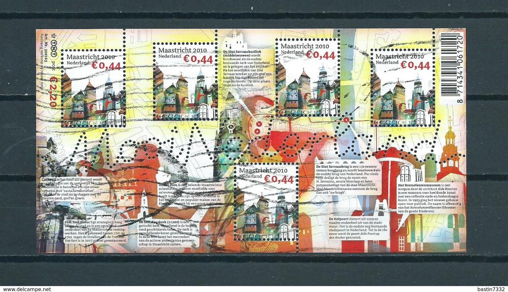 2010 Netherlands Complete M/Sheet Mooi Nederland,Maastricht Used/gebruikt/oblitere - Blokken