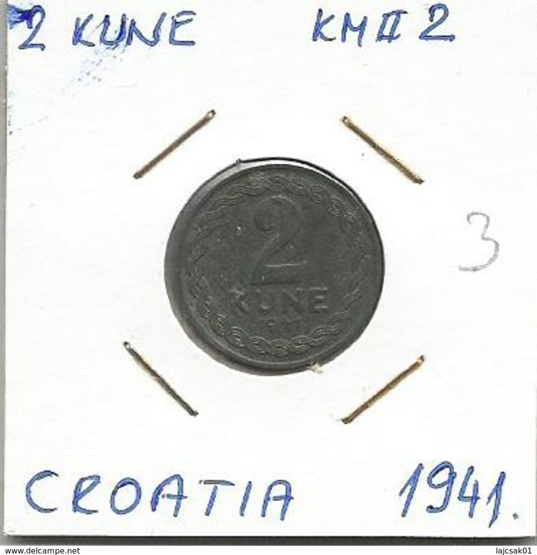 Gh4 Croatia 2 Kune 1941. KM#2 Zinc - Croatia