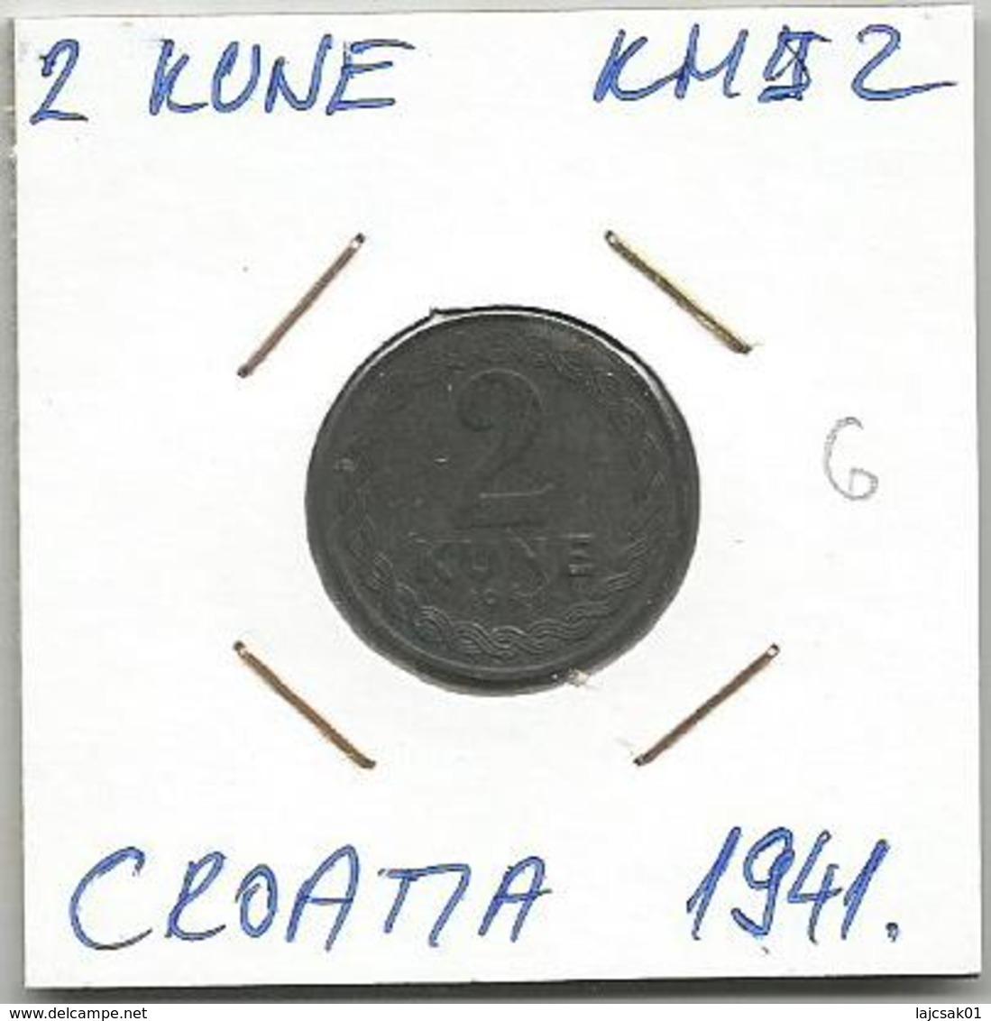 Gh6 Croatia 2 Kune 1941. KM#2 Zinc - Croatia
