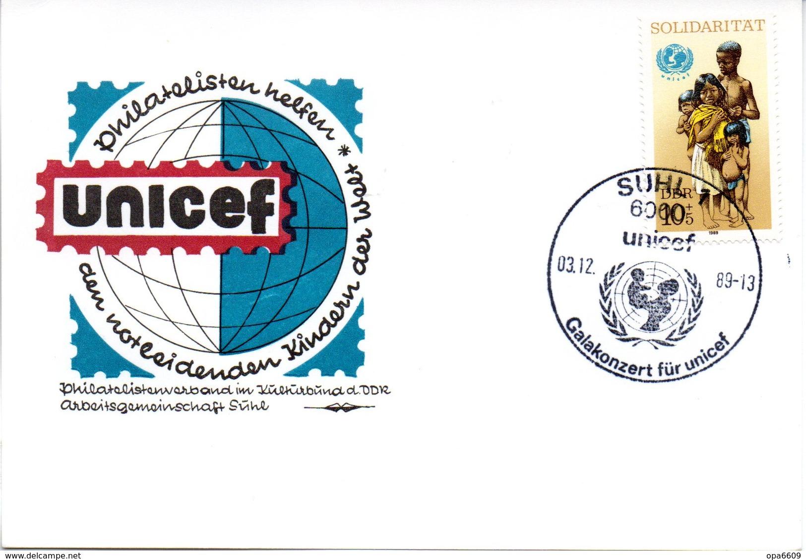 """(DDR-B3) DDR Sonderkarte """"UNICEF"""", EF Mi 3275, SSt. 3.12.89 SUHL 1 - DDR"""