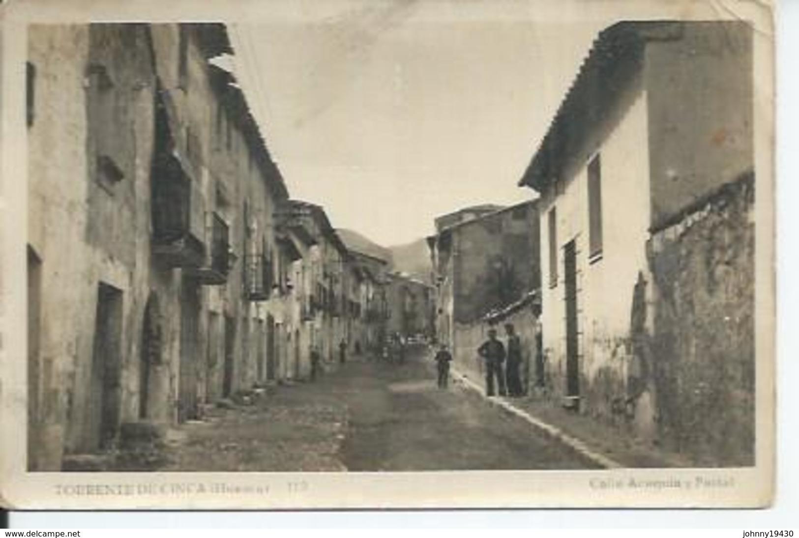 112 - TORRENTE DE CINCA ( HUESCA ) CALLE ACEQUIA Y PORTAL ( Animées  ) - Spain