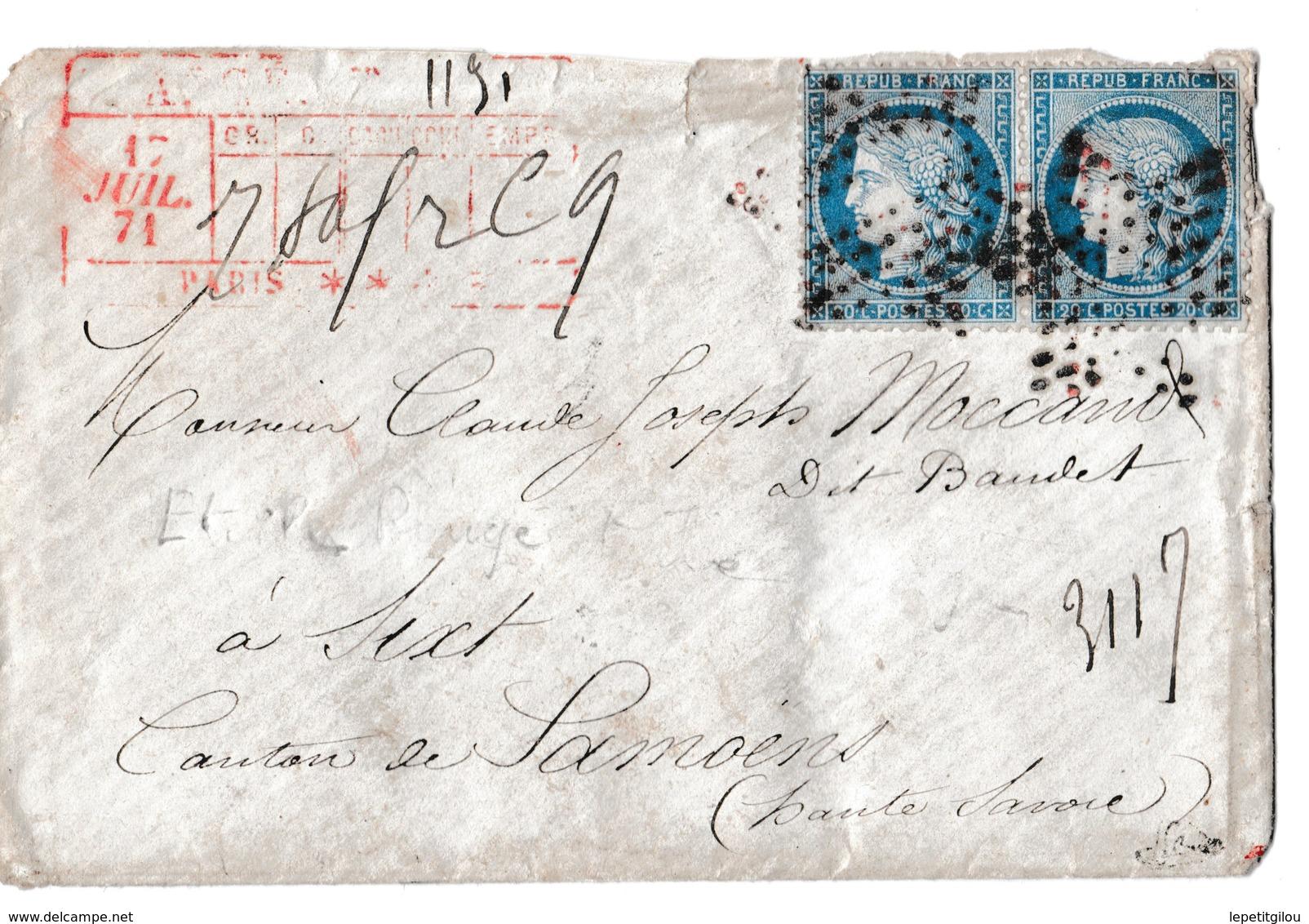 Enveloppe Chargée De Paris , Etoile ROUGE Et Noire, Cachet Collecteur Et Recto, 20c Siège X2. 17/07/71 Très Rare - Postmark Collection (Covers)
