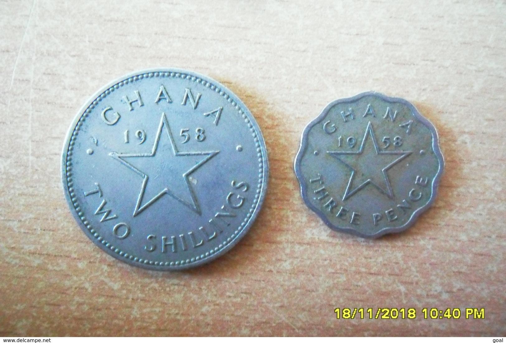 Lot De 2 Monnaies Du Ghana/3 Pence Et 2 Shiling De 1958 En TTB+ - Ghana