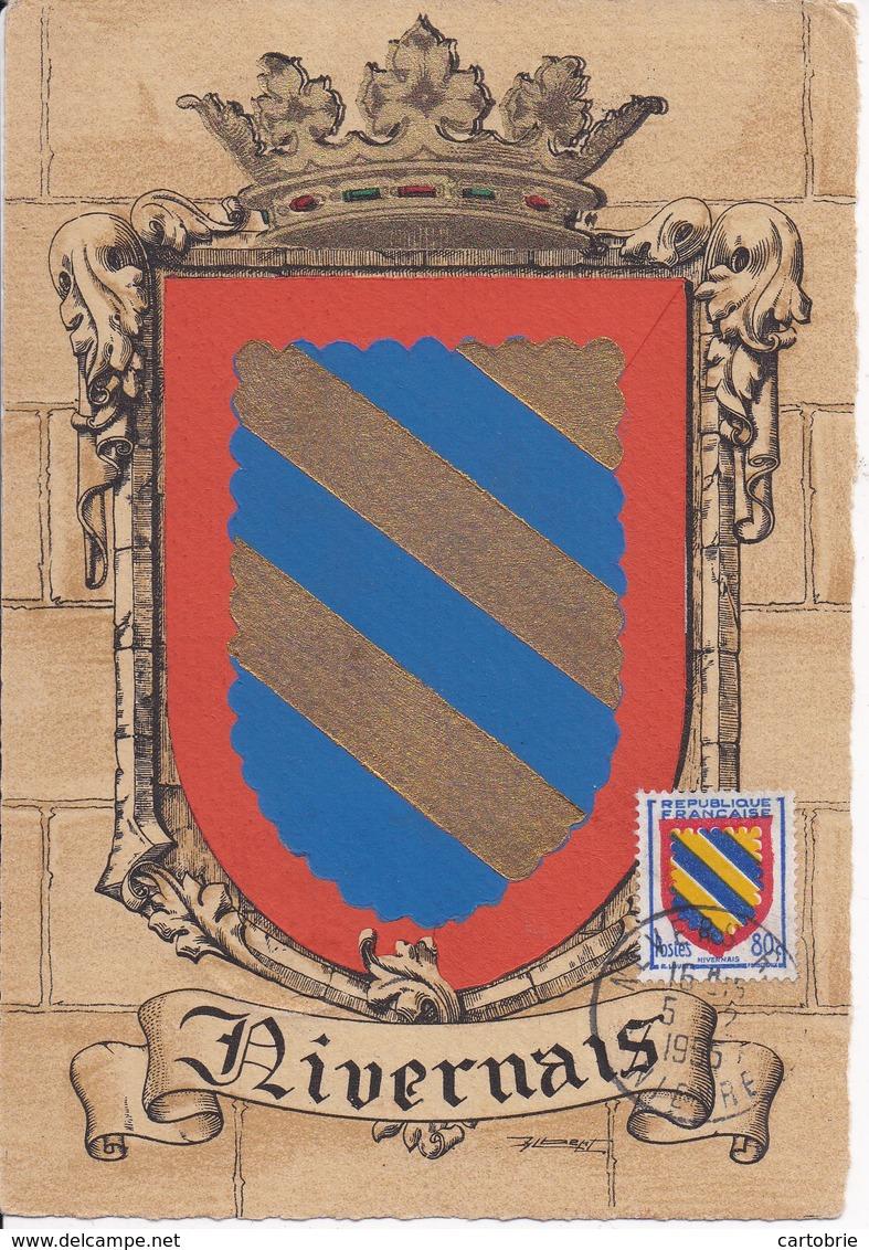 58 NIVERNAIS - Blason, Héraldique, Carte Maximum Barré-Dayez - Postée De NEVERS Le 5.2.1955 - Nevers