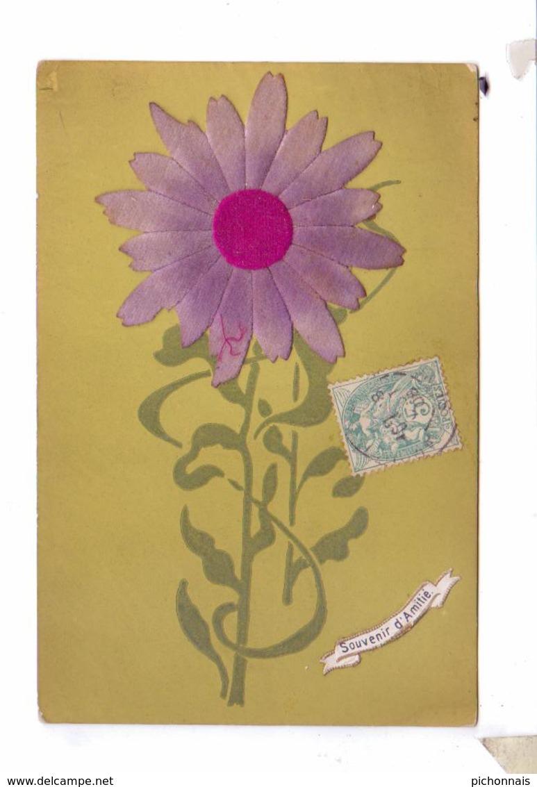 Souvenir Feutre Velour Velor  Applique Fleur Violette  3d Carte - Cartes Postales