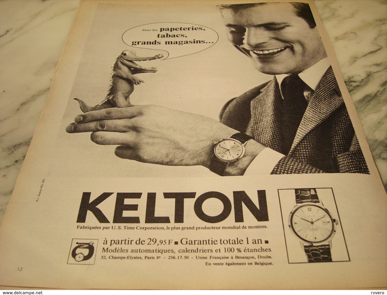 ANCIENNE PUBLICITE MONTRE KELTON 1965 - Bijoux & Horlogerie