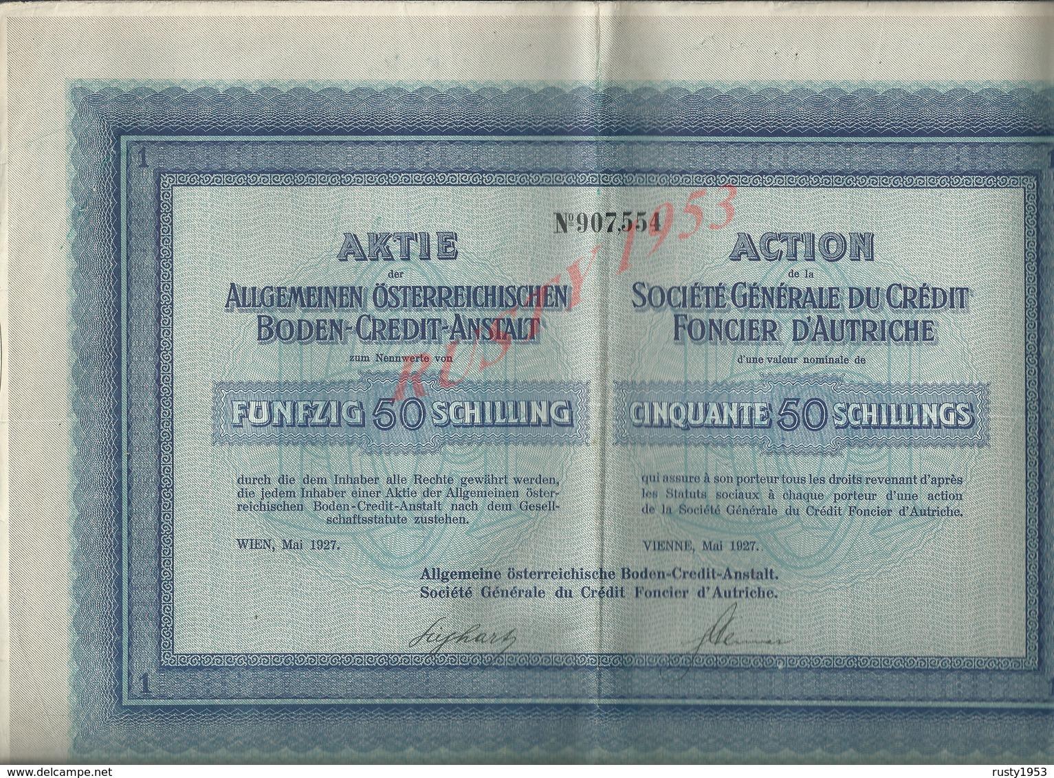 ACTION CRÉDIT FONCIER D AUTRCHE : - Banque & Assurance