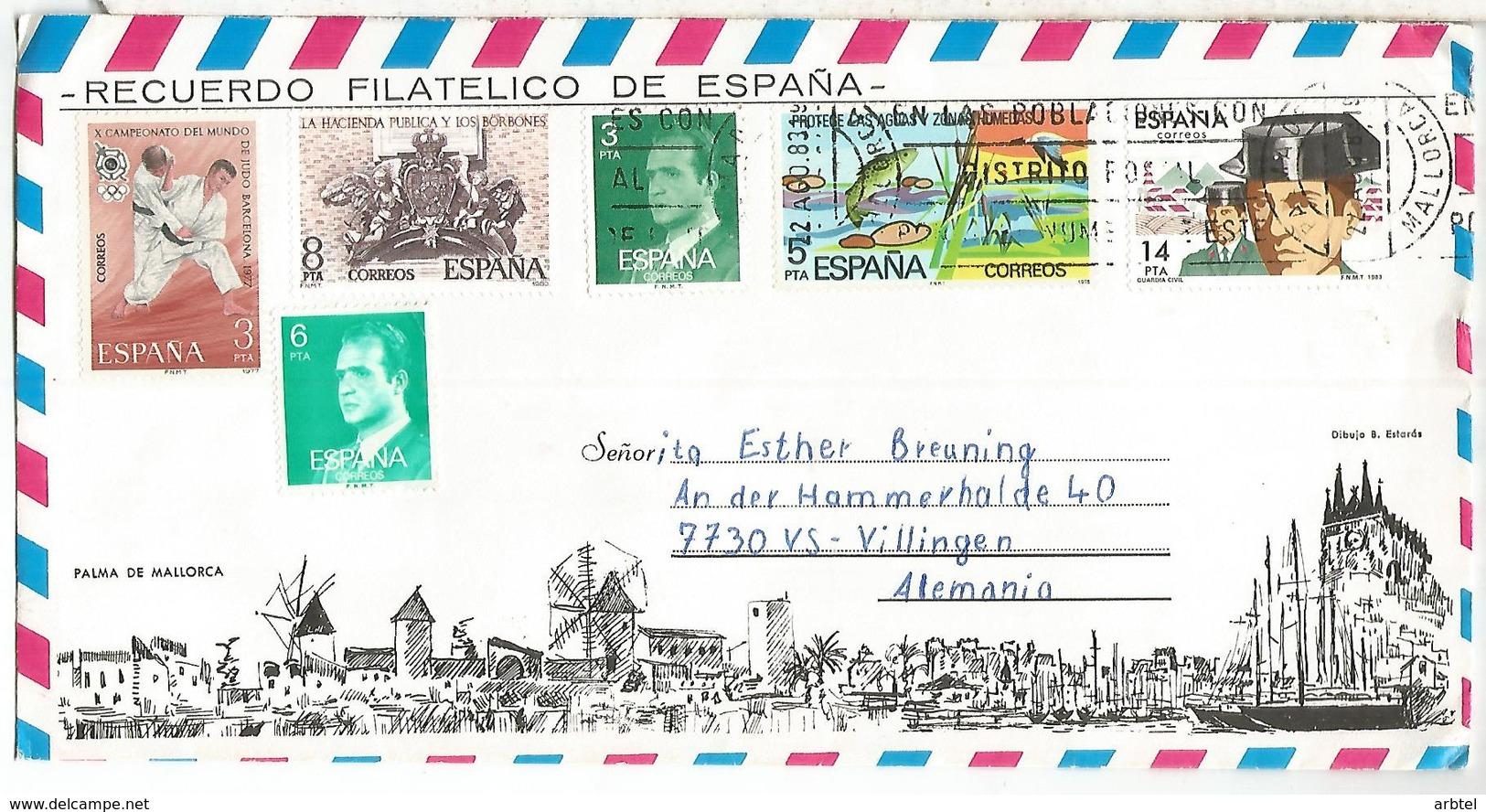 SOBRE TURISTICO BALEARES JUDO POLICIA POLICE PESCA FISHING NATURALEZA - 1931-Hoy: 2ª República - ... Juan Carlos I