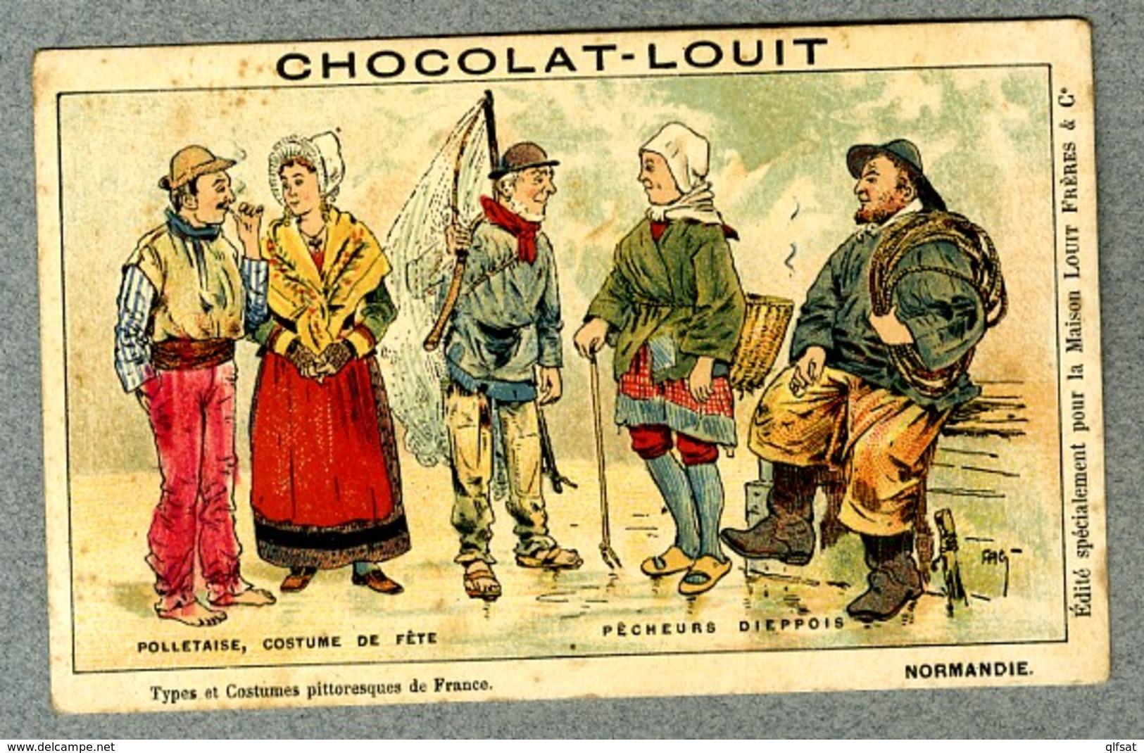 Chromo Louit Normandie Polletaise Ile Du Pollet Island Pecheurs Dieppe Fishermen Fag Vintage Trade Card - Louit