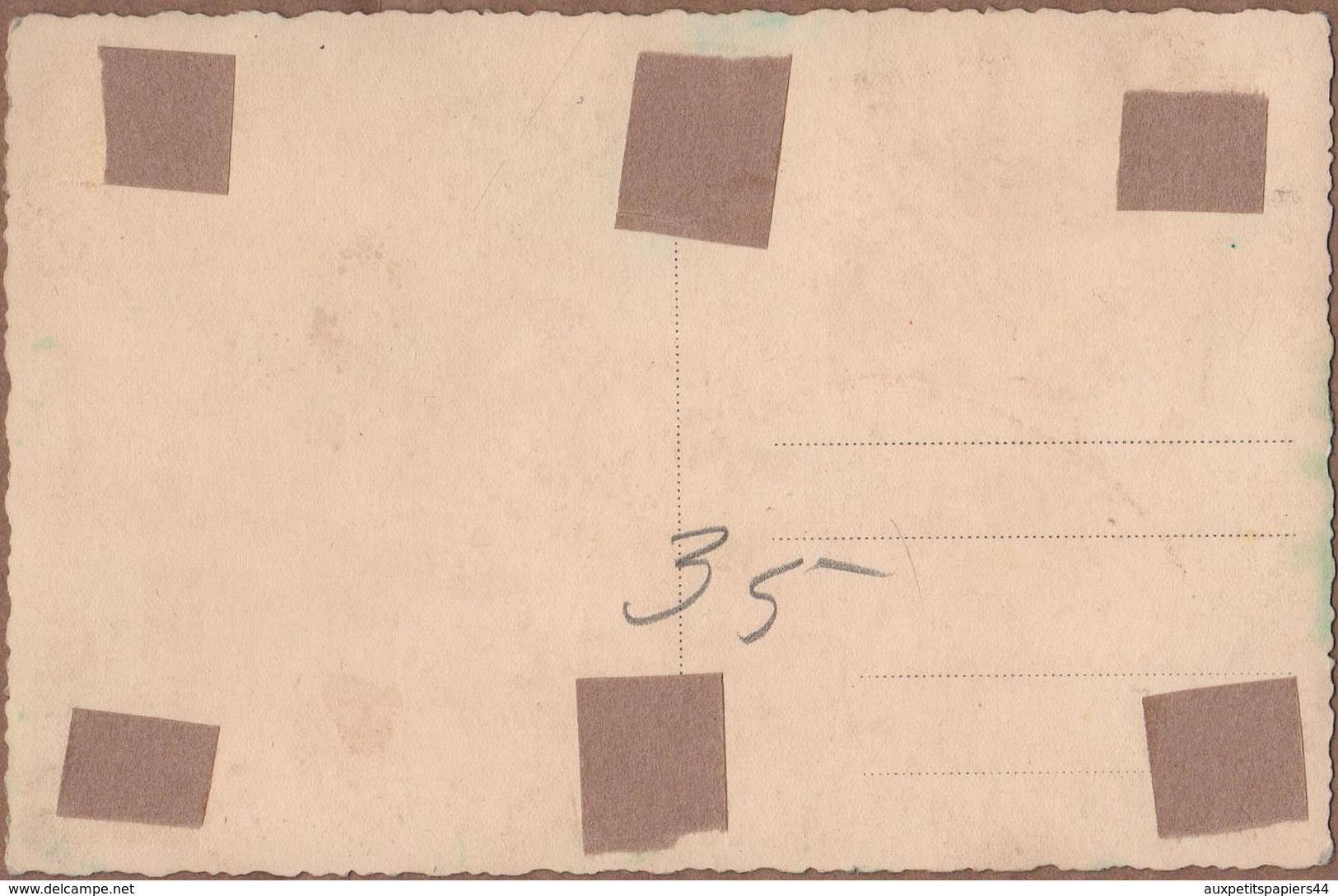Carte Photo Colorisée Originale De 1935 - Deux Femmes Tyroliennes Dans Un Champ De Pâquerettes & Ferme En Arrière Plan - Personnes Anonymes
