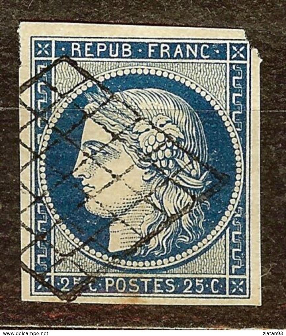 SUPERBE CERES N°4a 25c Bleu Foncé Oblitéré GRILLE Cote 70 Euro PAS D'AMINCI - 1849-1850 Cérès