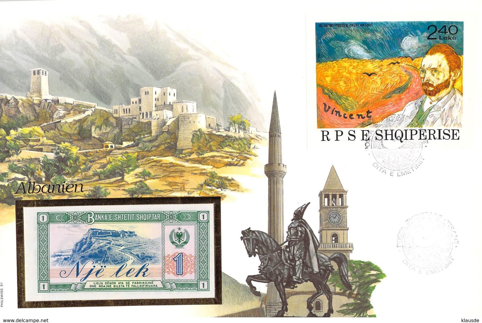 FDC Mit 1 Lek Bankfrisch 1976  & Block  Albanien - Albanie