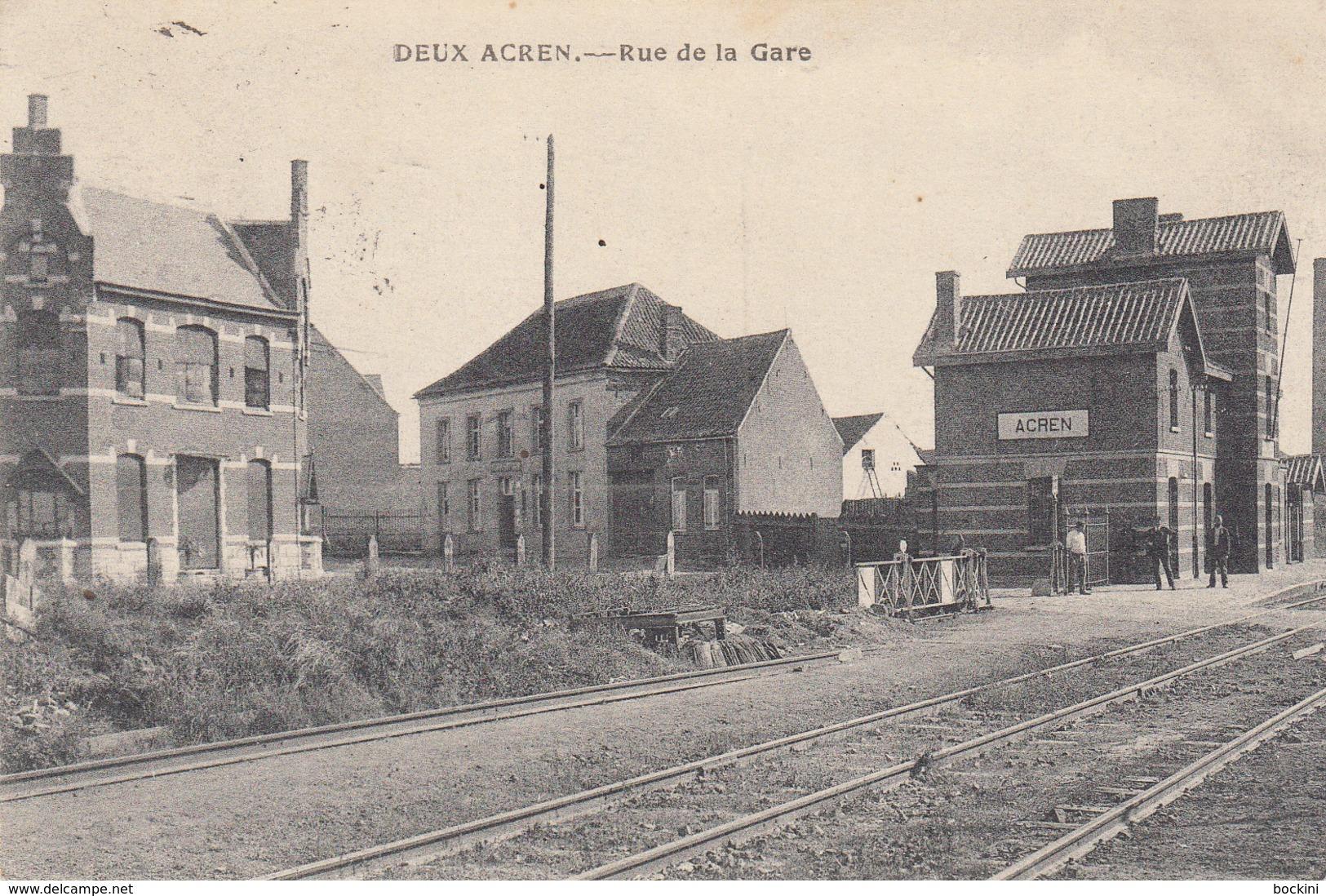 Deux - Acren - Rue De La Gare  - Très Belle Carte Animée - état Voir Scan. - Lessines