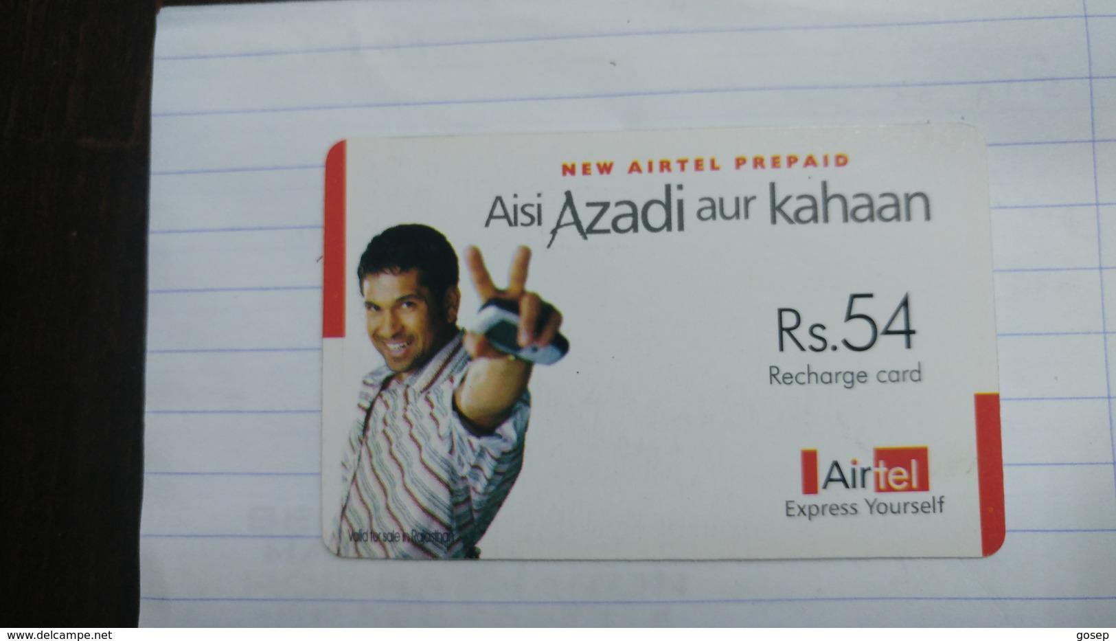 India-airtel Aisi Azadi Aur Kahaan-(56a)(rs.54)(new Delhi)(8244355795824620)(look Out Side)used Card+1 Card Prepiad Free - India