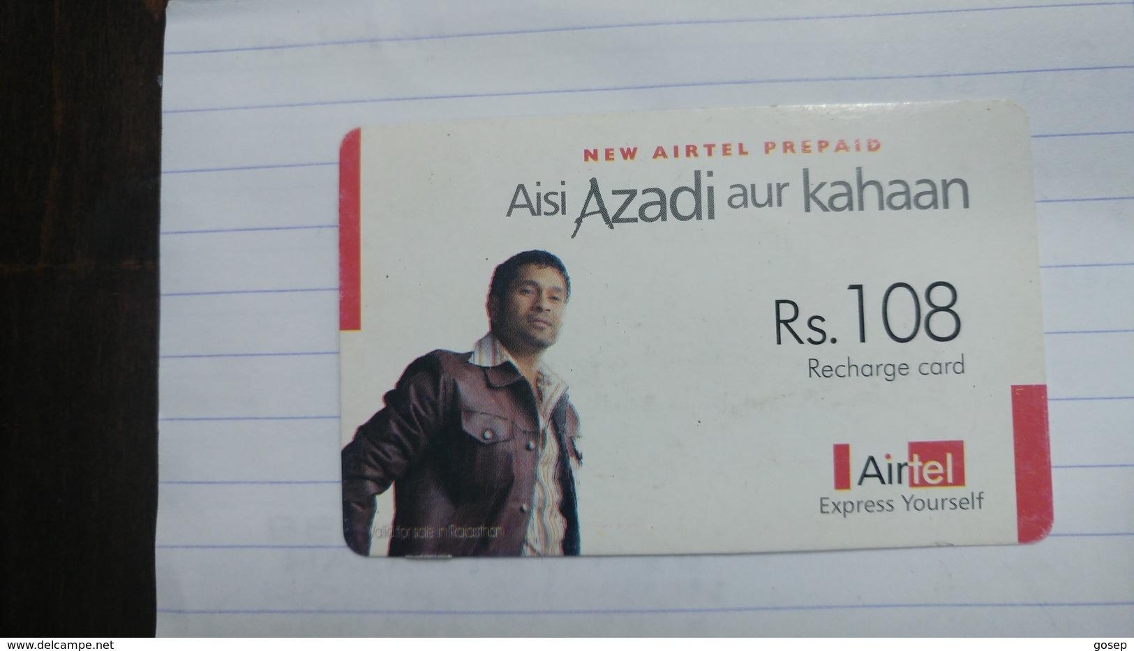 India-airtel Aisi Azadi Aur Kahaan(57c)(rs.108)(new Delhi)(0897350425283555)(look Out Side)used Card+1 Card Prepiad Free - India
