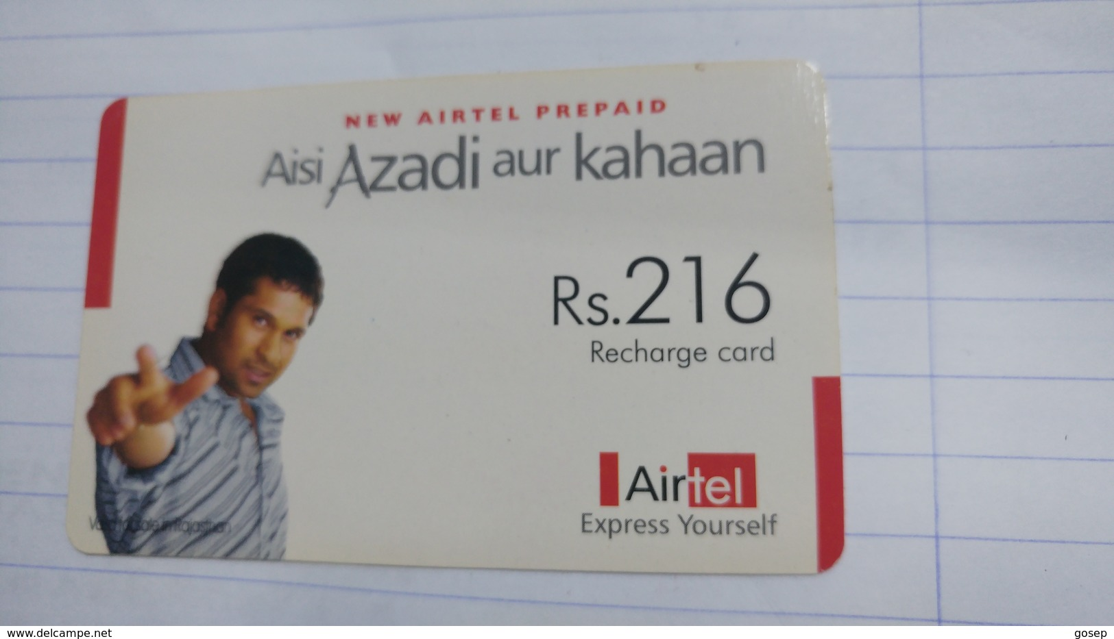 India-airtel Aisi Azadi Aur Kahaan(58)(rs.216)(new Delhi)(5024394201298971)(look Out Side)used Card+1 Card Prepiad Free - India