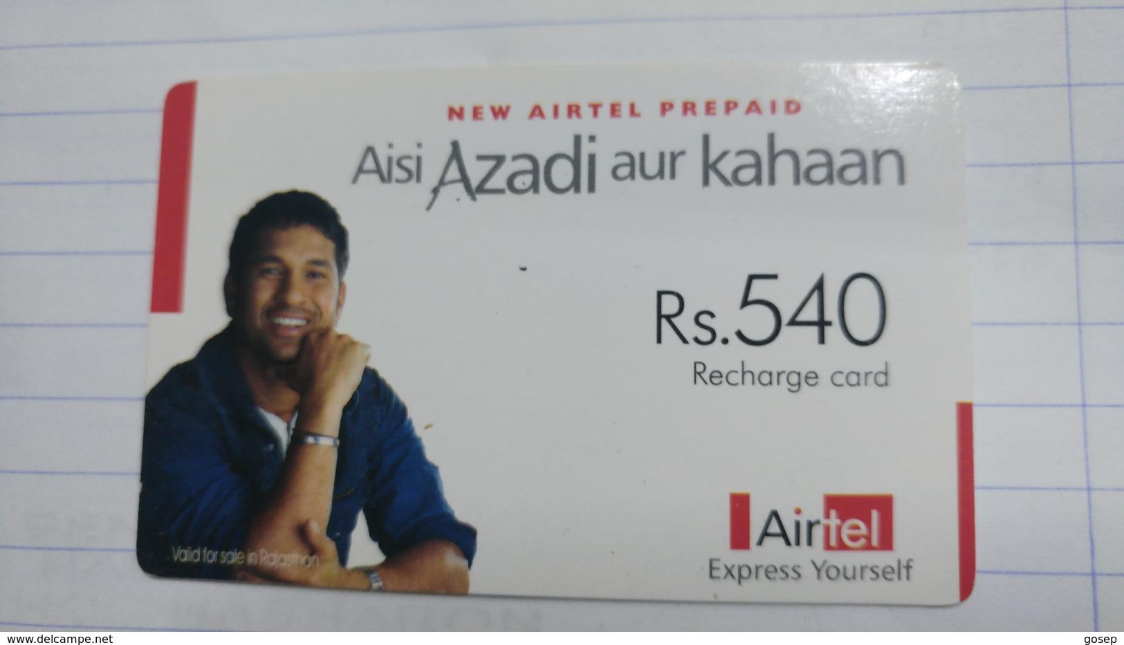 India-airtel Aisi Azadi Aur Kahaan(63)(rs.540)(new Delhi)(5013381546854912)(look Out Side)used Card+1 Card Prepiad Free - India