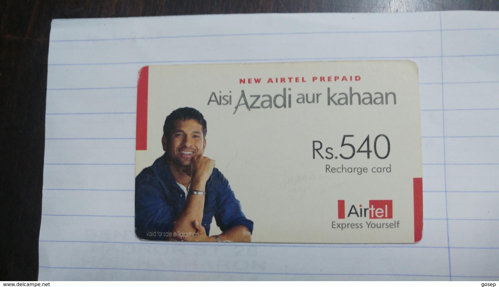 India-airtel Aisi Azadi Aur Kahaan(63a)(rs.540)(new Delhi)(5022394241240040)(look Out Side)used Card+1 Card Prepiad Free - India