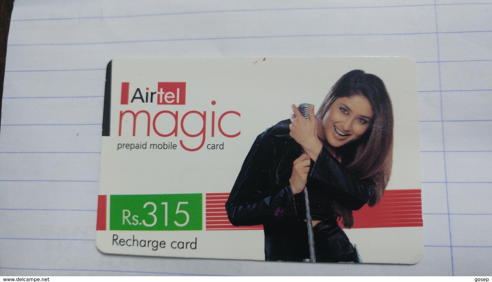 India-airtel Magic-(73a)(rs.315)(new Delhi)(0242394511182155)(look Out Side)used Card+1 Card Prepiad Free - India