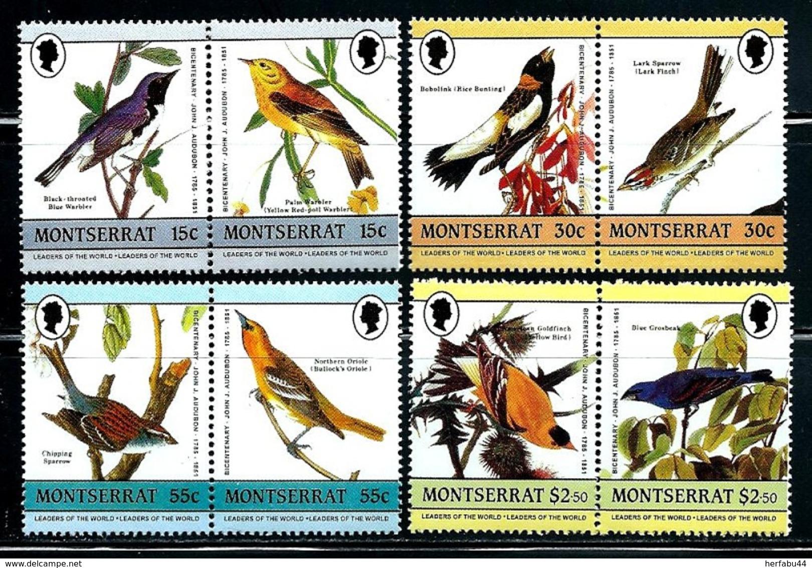"""Montserrat       """"Birds""""    4 Pair      Set     SC# 580-83    MNH - Montserrat"""