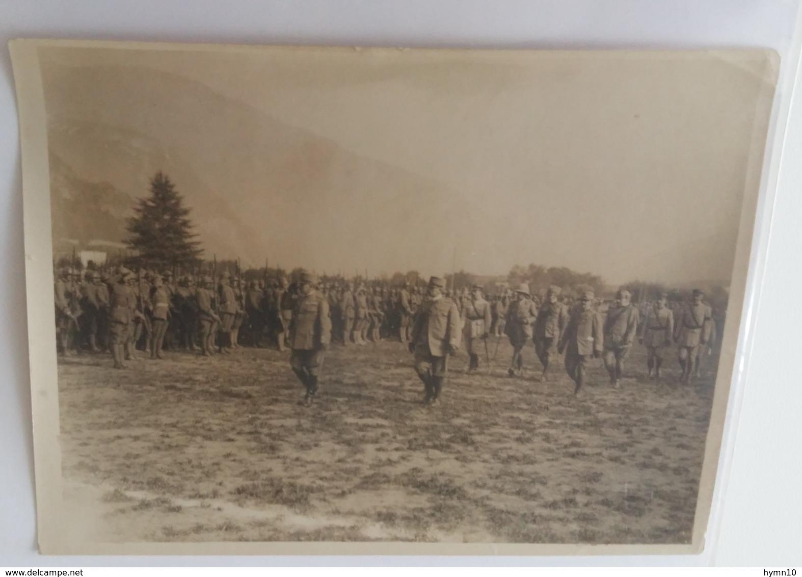 1918+1°GM FRONTE ITALIANO-GENERALE CADORNA+Ufficiali INGLESI E FRANCESI ISPEZIONA Una DIVISIONE Originale FOTO B/N-L759 - Krieg, Militär