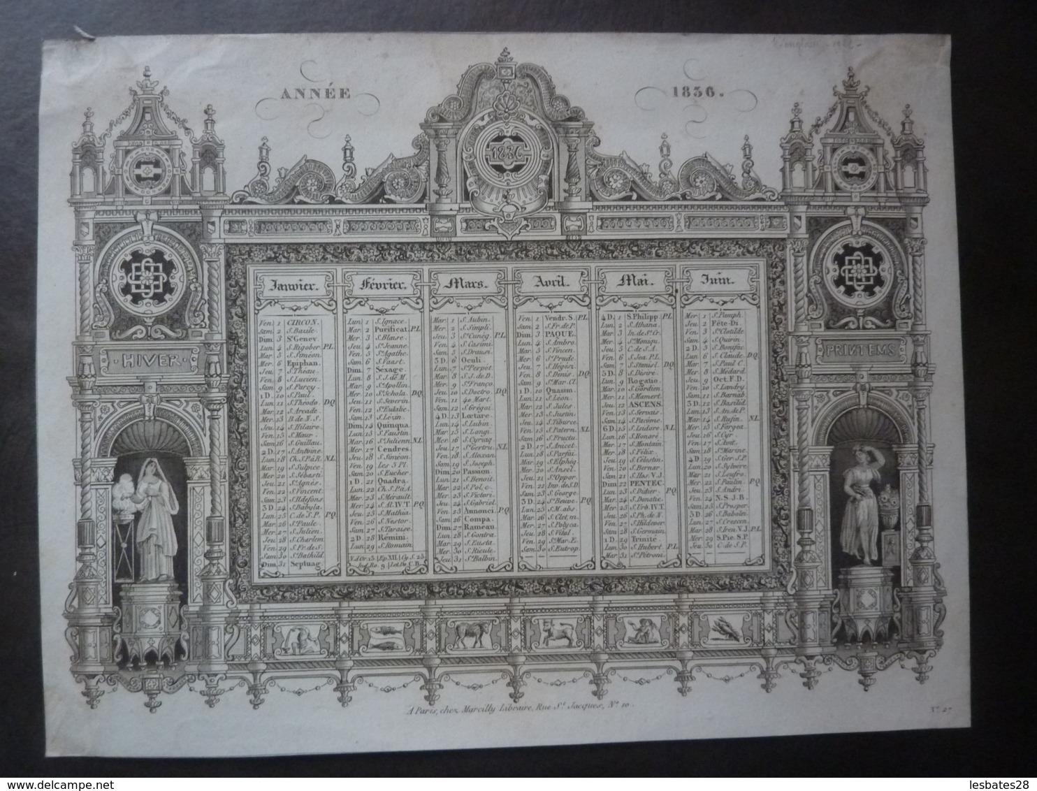 ALMANACH  CALENDRIER  1836-  SEMESTRIEL -ARABESQUE Et ALLEGORIE DE RHETHORIQUE Edit Marcilly Libraire à Paris - Kalender