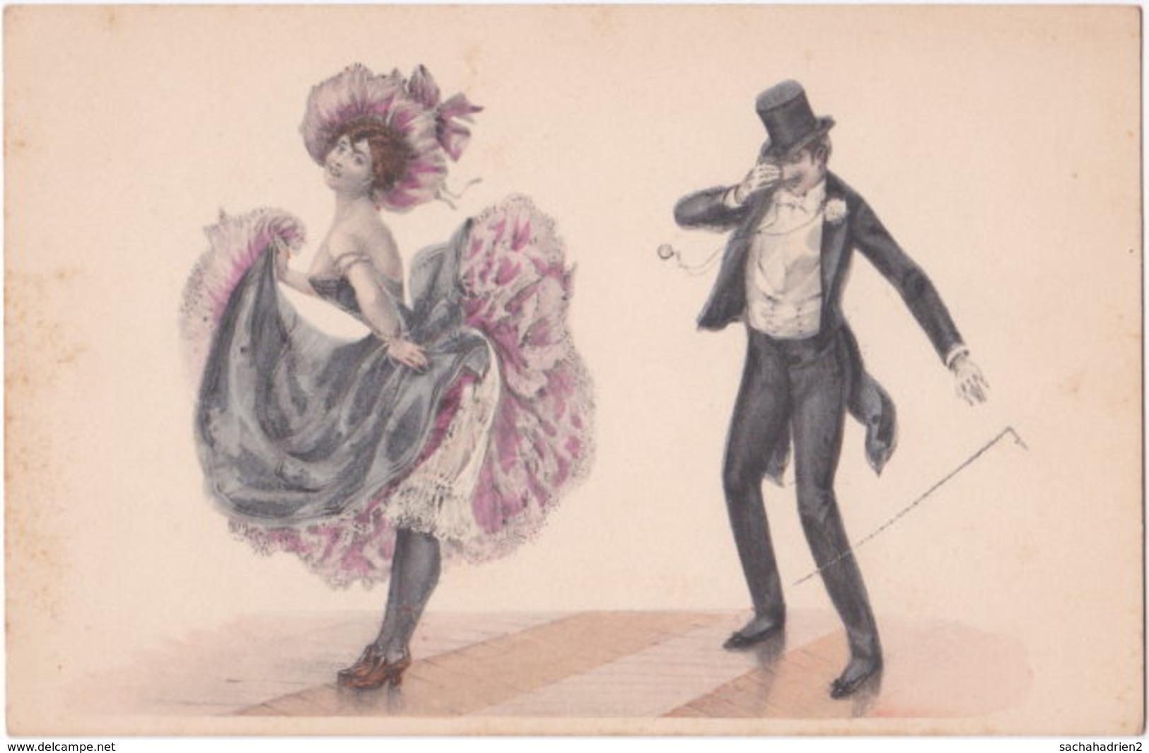 Illustrateur. Belle Epoque. Danseuse Et Galant (2) - Illustratori & Fotografie