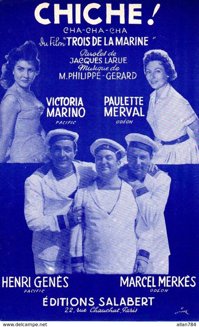 CHICHE DU FILM 3 DE LA MARINE / JEAN CARMET / HENRI GENES / MARCEL MERKES / P. NERVA L / V. MARINO - 1957 - EXC ETAT - Film Music