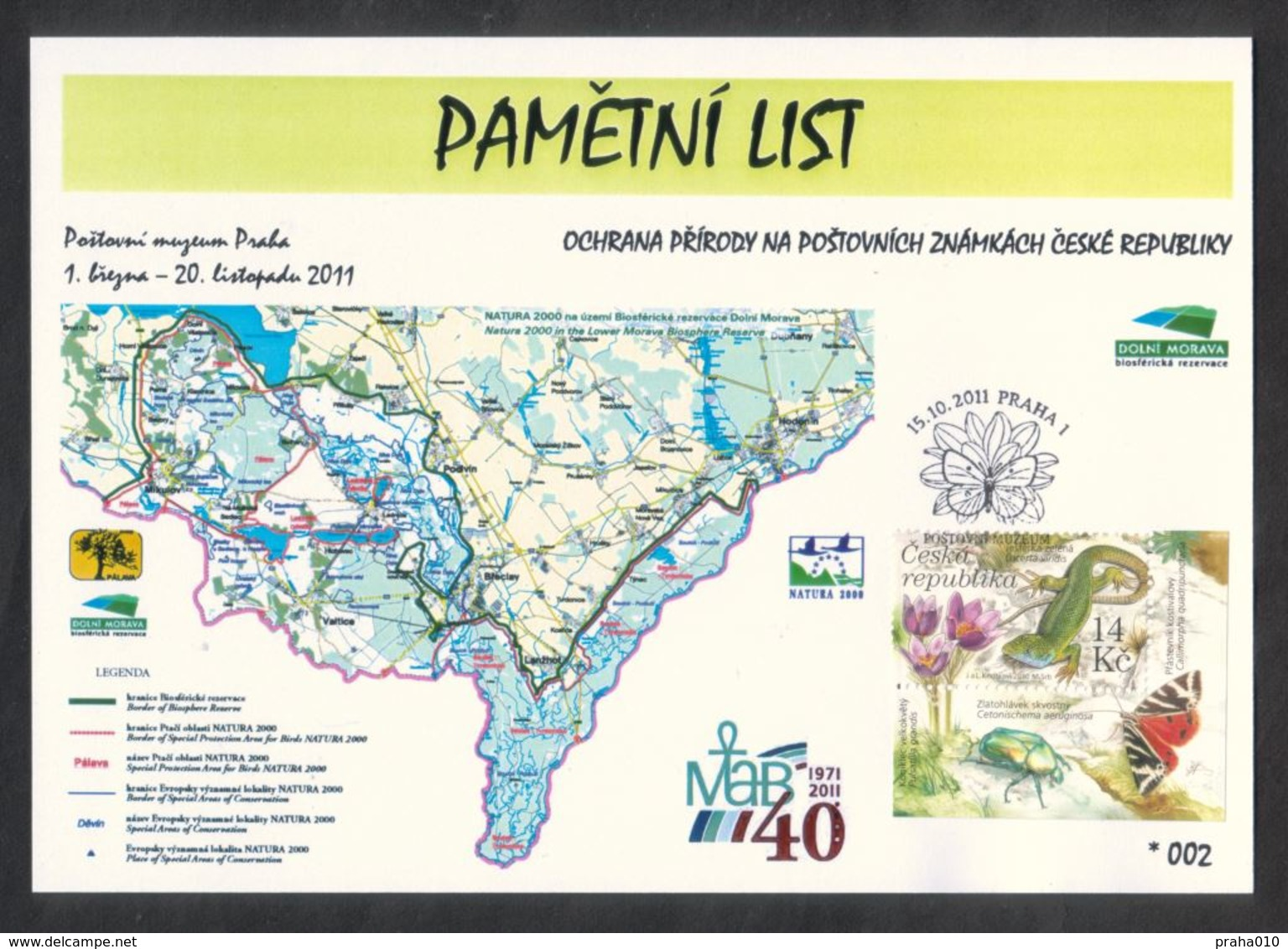 Tschech. Rep. / Denkblatt (PaL 2011/01 D) Praha 1: Naturschutz Auf Briefmarken - Untere Morava (UNESCO) - Geographie