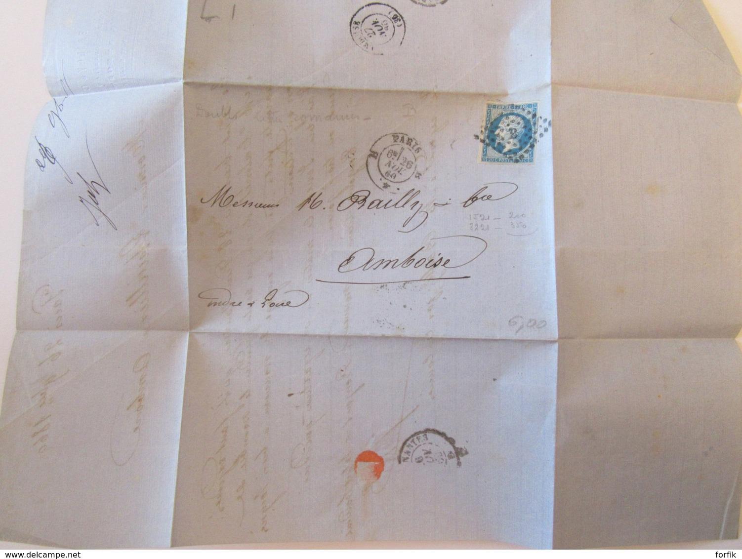France - Timbre Napoléon III 20c YT N°14A Sur Lettre - Paris Vers Amboise - Ob. Ambulant + Paris à Nantes - Nov. 1860 - Postmark Collection (Covers)