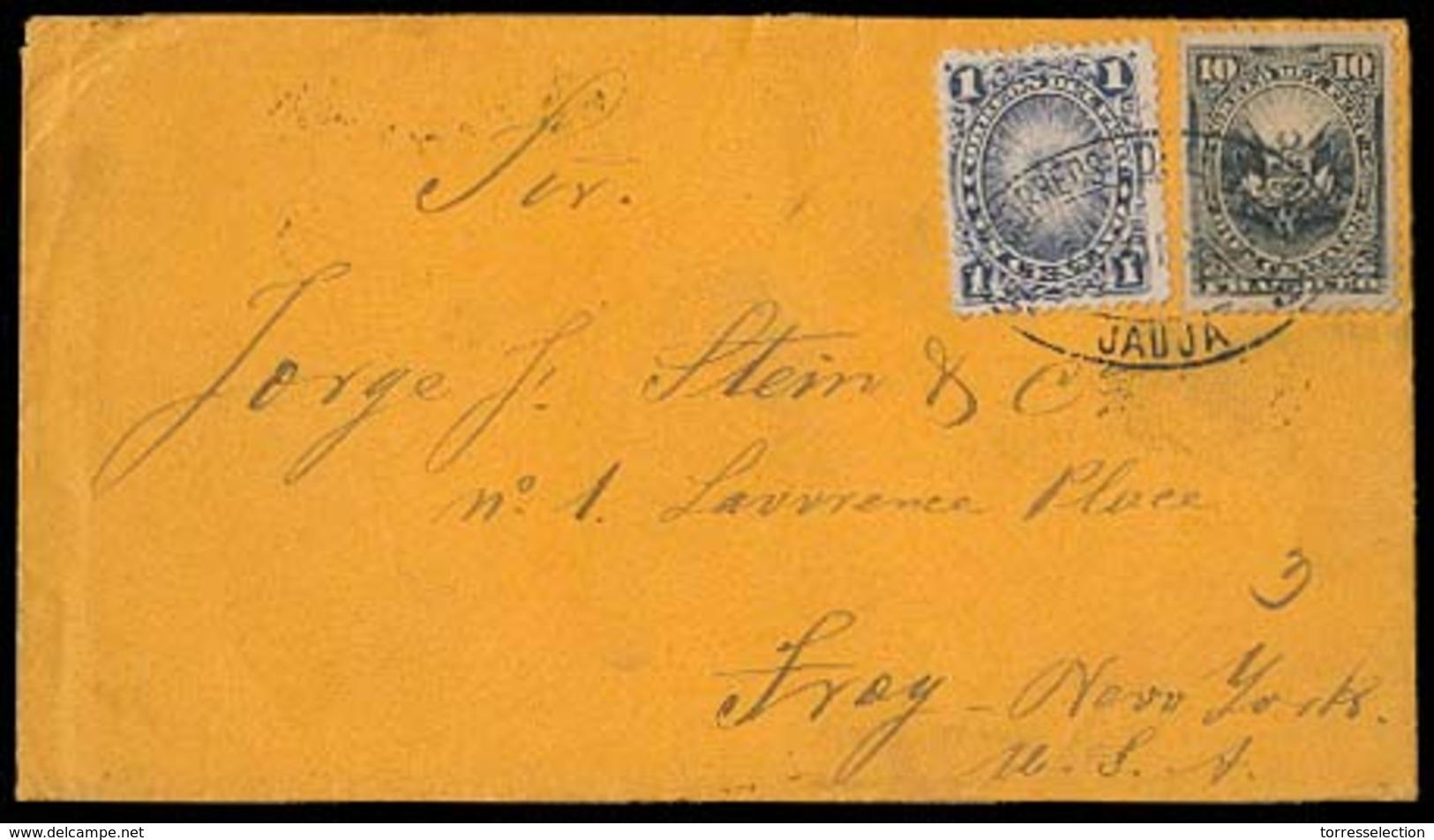 PERU. 1891. Sanja - USA. Fkd Env Oval Ds. VF. - Peru