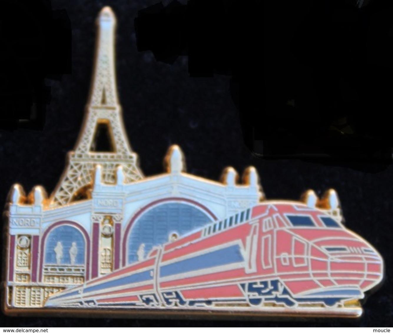 TGV - TRAIN  - LOCOMOTIVE ORANGE  TOUR EIFFEL - PARIS - BALLARD - DORE A L'OR FIN - COMBS LA VILLE -    (21) - TGV
