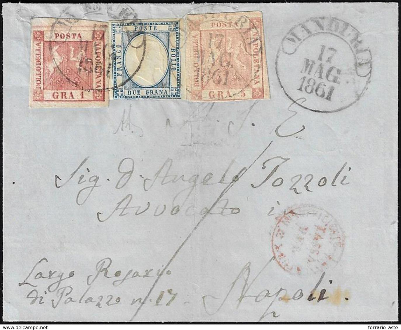 1861 - 1 Grano Carminio, II Tavola, Perfetto, 5 Grana Rosa Brunastro I Tavola, Giusto In Basso, In A... - Napoli