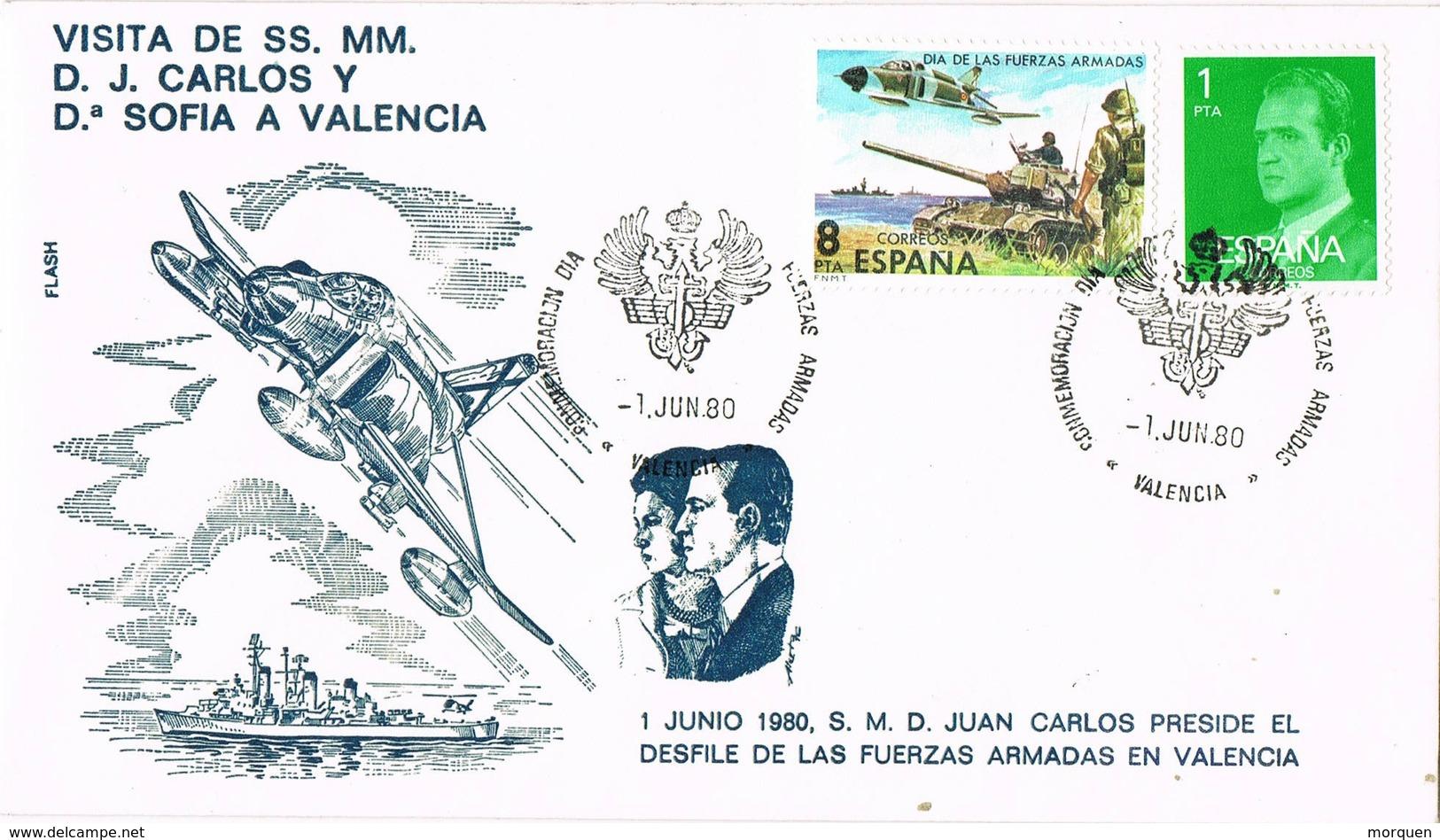 31593. Carta VALENCIA 1980. Visita De Los Reyes Juan Carlos Y Sofia. Desfile Fuerzas Armadas - 1931-Hoy: 2ª República - ... Juan Carlos I