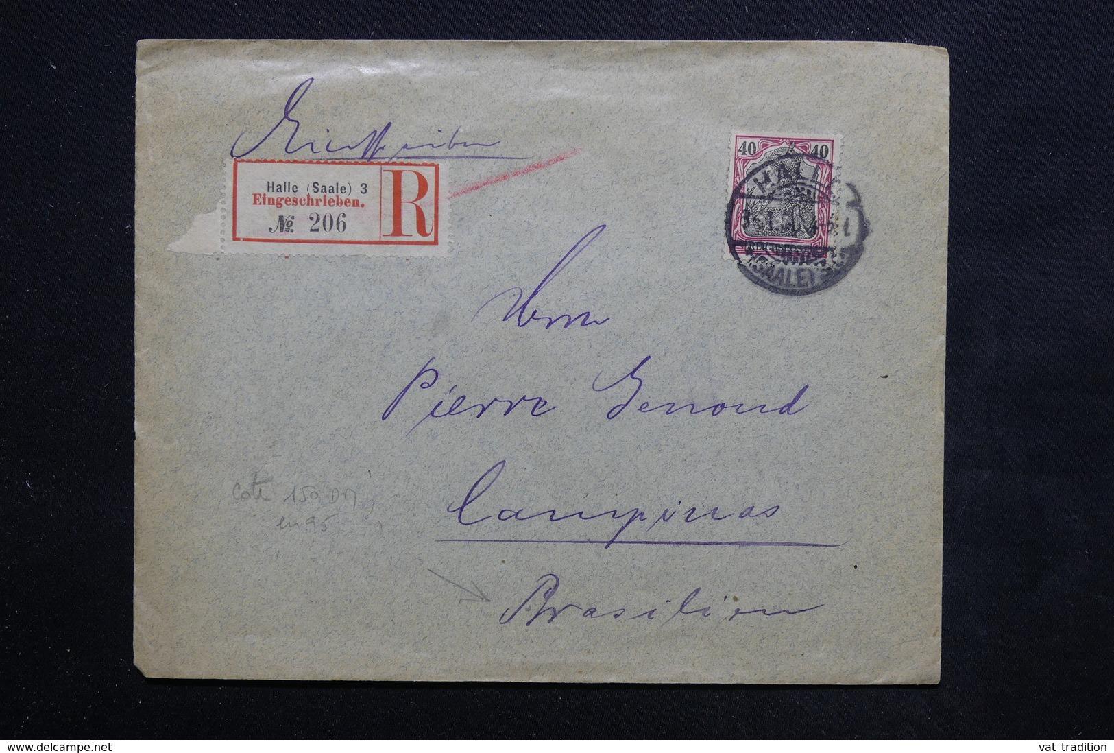 ALLEMAGNE - Enveloppe En Recommandé De Halle Pour Le Brésil En 1900 - L 23911 - Briefe U. Dokumente